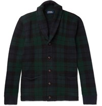 Polo Ralph Lauren Blackwatch Checked Shawl Collar Wool Cardigan Navy