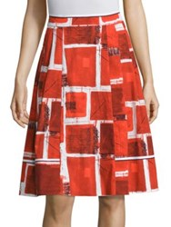 Piazza Sempione Square Printed Skirt White Red