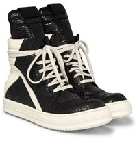 Rick Owens Geobasket Coated Nubuck And Leather High Top Sneakers Black