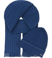 Hugo Boss Marros Wool Hat And Scarf Set Bright Blue