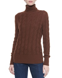 Loro Piana Cashmere Cable Knit Turtleneck Sweater Carob Brown
