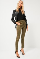 Missguided Khaki Faux Suede Pocket Detail Leggings