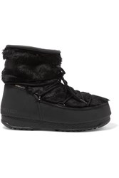 Moon Boot Monaco Rubber And Faux Fur Snow Boots Black