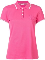 Moncler Logo Embroidered Polo Top Pink