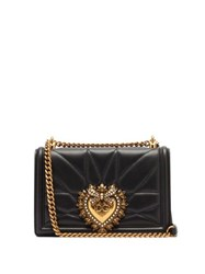 Dolce And Gabbana Devotion Quilted Leather Cross Body Bag Black