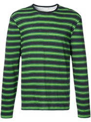 Cynthia Rowley Longsleeved Striped T Shirt Green