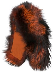 Mr And Mrs Italy Fox Fur Collar Orange
