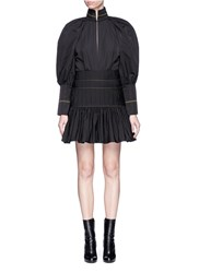 Ellery 'Skyward' Pleated Taffeta Peplum Dress Black