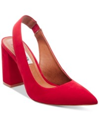 Steve Madden Women's Dove Slingback Block Heel Pumps Women's Shoes Red