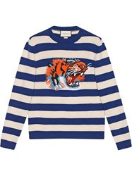 Gucci Striped Wool Sweater With Tiger Head Wool Blue