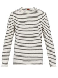 Barena Venezia Striped Cotton Blend Long Sleeve T Shirt White Navy