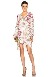 Haute Hippie Lace Up Dress In Floral Purple White
