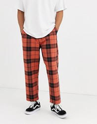 Obey Fubar Pleated Plaid Trouser In Red