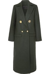 Mother Of Pearl Double Breasted Wool And Cashmere Blend Coat Dark Green