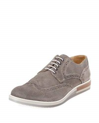 Bugatchi Sondrio Dotted Lace Up Oxford Beige
