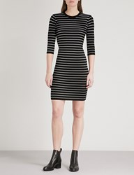 Moandco. Striped Ribbed Knit Mini Dress Black And White