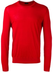 Z Zegna Long Sleeve Sweater Red