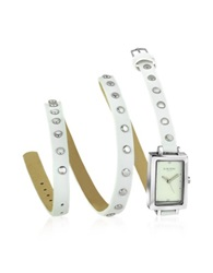 Forzieri Nina White Leather Wrap Bracelet Watch