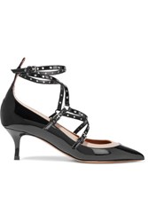Valentino Love Latch Eyelet Embellished Patent Leather Pumps Black