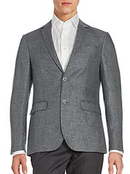 Sand Wool And Linen Textured Jacket Grey