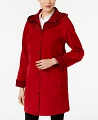 Jones New York Two Toned A Line Hooded Raincoat Red