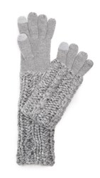Rebecca Minkoff Hand Knit Cable Texting Muffler Gloves Light Heather Gray