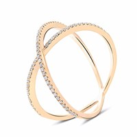 Cosanuova Dainty X Diamond Ring 18K Rose Gold