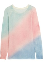 The Elder Statesman Oversized Color Block Cashmere And Silk Blend Sweater Pink Mint
