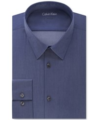 Calvin Klein X Extra Slim Fit Stretch Navy Chambray Solid Dress Shirt