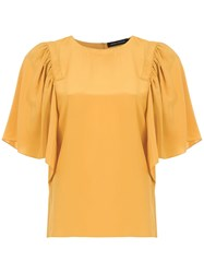 Andrea Marques Ruffled Silk Blouse Yellow