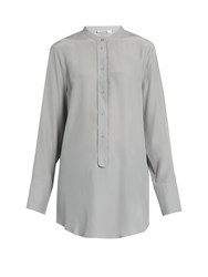 Jil Sander Christina Silk Crepe Shirt Light Grey