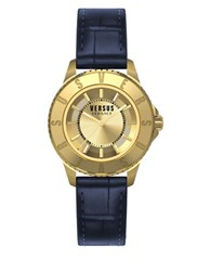 Versus By Versace Tokyo Goldtone Stainless Steel Blue Leather Strap Watch Sh7180015
