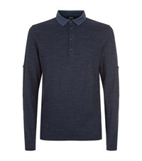 Boss Orange Roll Sleeve Polo Shirt Navy
