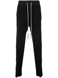 Mostly Heard Rarely Seen Asymmetrical Seam Track Trousers Black