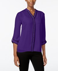 Ny Collection Petite Contrast Trim Blouse Purple Empathy