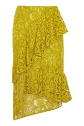 Topshop Lace Ruffle Midi Skirt Chartreuse