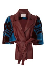 Carolina Herrera Fur And Leather Coat Burgundy