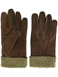 Canali Cuff Detailing Gloves Brown