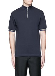 Acne Studios 'Keller' Mock Turtleneck Cotton Polo Shirt Blue