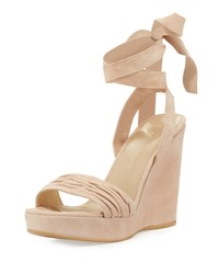 Stuart Weitzman Swiftsong Suede Ankle Wrap Wedge Sandal Bisque