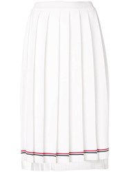 Thom Browne Tipping Stripe Long Pleated Skirt White
