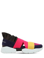 Emilio Pucci 30Mm City Mesh And Suede Sneakers W Ruffle Navy Black Pink