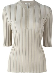 Celine Fitted Ribbed Knit Top Nude And Neutrals