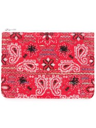 Coohem Knit Tweed Bandana Pouch Cotton Calf Leather Polyester Red