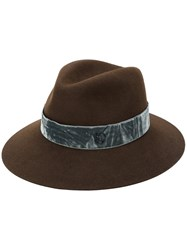 Maison Michel Velvet Band Hat Cotton Wool Felt S Brown