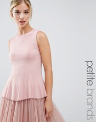 Miss Selfridge Petite Peplum Rib Top Pink