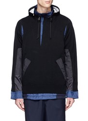 Sacai Knit Ripstop Patchwork Hooded Jacket Blue
