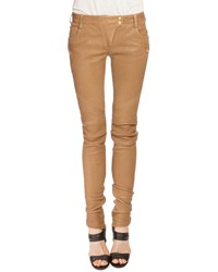 Balmain Leather Moto Jeans Tan