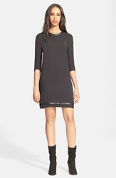 Women's The Kooples Studded Faux Leather Trim Crepe Shift Dress