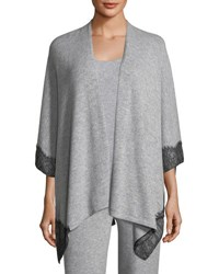 Neiman Marcus Cashmere Lace Trimmed Shawl Cardigan Flannel